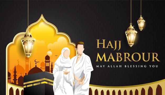 Hajj mabrour achtergrond met kaaba, man en vrouw hajj karakter