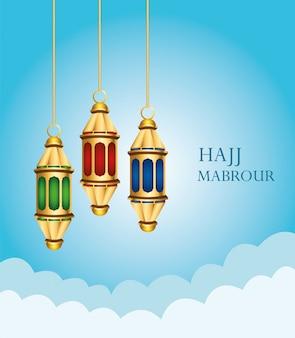 Hajj mabrour feest met gouden lantaarns opknoping