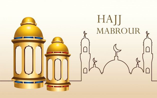 Hajj mabrour feest met gouden lantaarns