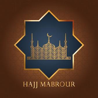 Hajj mabrour feest met gouden moskee tempel
