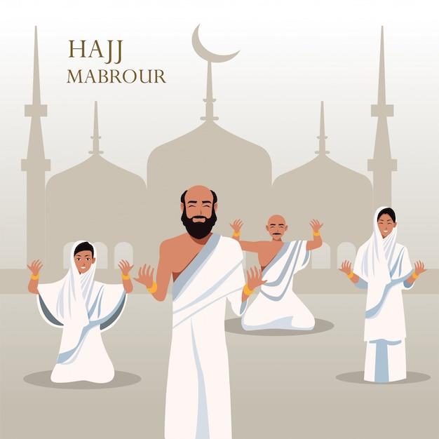 Hajj mabrour feest met groep islamitische pelgrims in de moskee