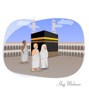 Hajj mabrour islamic greeting card vector illustration