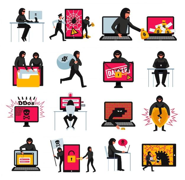 Hakkerpictogrammen met online bedreigingen en aanvalsymbolen worden geplaatst isoleerden vlak illustratie die
