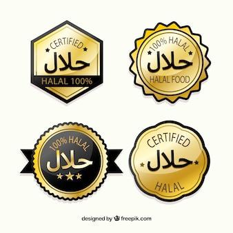 Halal stempel collectie met gouden stijl
