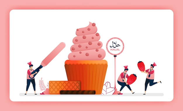 Halal voedsel menu illustratie van zoete aardbei cupcake.