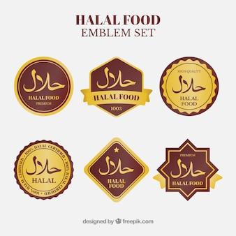 Halal-voedseletiketinzameling met gouden stijl