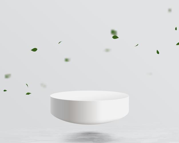 Half bol mockup drijvend op water met blad vallende achtergrond. futuristisch technologie digitaal hi-tech concept