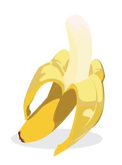 Half gepelde rijpe banaan, geïsoleerd op een witte achtergrond. lekkere bananen op een witte achtergrond.