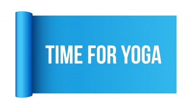 Half gerolde yogamat, fitness en gezondheidssjabloon.
