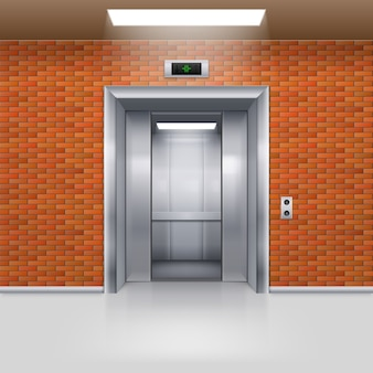 Half open metalen liftdeur in een bakstenen muur