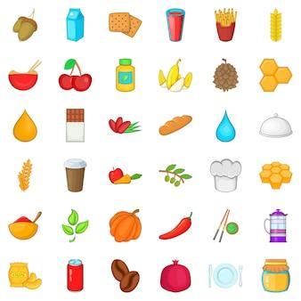 Half vegetarische iconen set, cartoon stijl