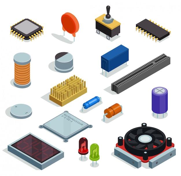 Halfgeleider isometrische set microchip microprocessordiode transistor condensatorweerstandsleuf geïsoleerde elementen