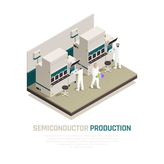 Halfgeleiderchip productie isometrische samenstelling met elektronische silicium chip fabriek machines en menselijke werknemers vector illustratie