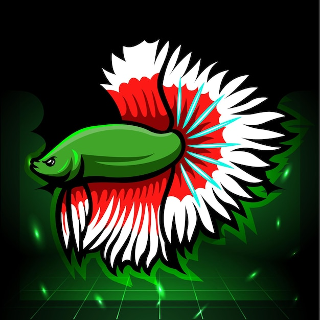 Halfmoon betta vis mascotte. esport logo ontwerp