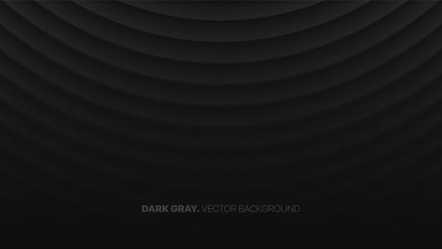 Halfronde gebogen vloeiende lijnen 3d wazig effect donkergrijze abstracte achtergrond
