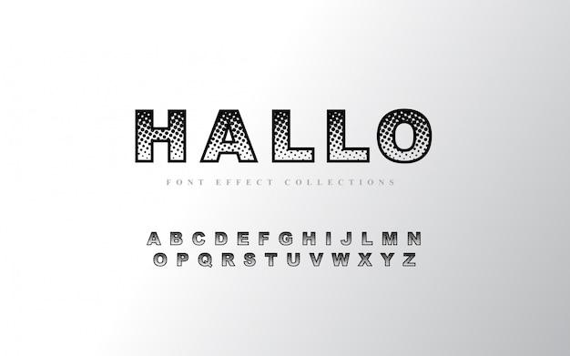 Halftone alfabet lettertype sjabloon