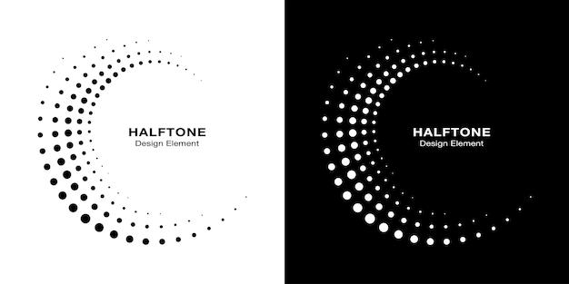 Halftone circulaire gestippelde frames instellen. cirkel stippen geïsoleerd