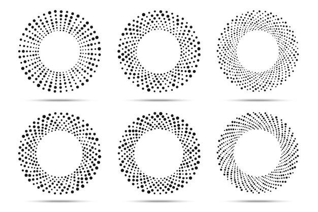 Halftone circulaire gestippelde frames instellen. cirkel stippen. logo ontwerpelement. ronde rand met halftone cirkel stippen textuur.
