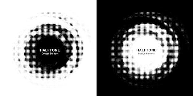 Halftone cirkel gestippelde frame circulair verdeeld set.