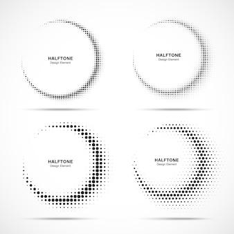 Halftone cirkelframe abstracte stippen logo emblemen.