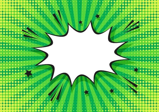 Halftone popart achtergrond. komisch groen patroon met tekstballon. vector illustratie.