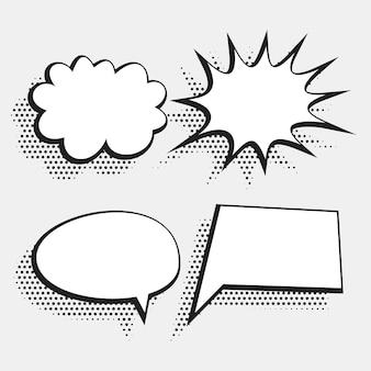 Halftone stijl komische chat bubble expressie in wit