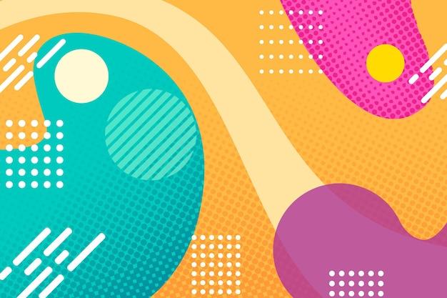 Halftoon achtergrond met kleurrijke vormen en stippen
