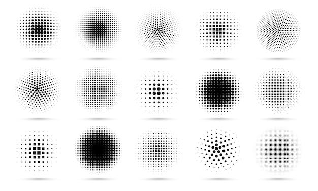 Halftoon cirkel. abstracte gestippelde cirkels, ronde halftonen geometrische stippen verloop en popart textuur.
