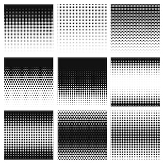 Halftoon. gradient halftone dots grafisch, digitale technologie patroon. grijswaarden geperforeerde monochrome honingraat geometrische textuur sjabloon set