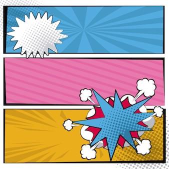 Halftoon in pop-artstijl met dialoogbox voor strepen en wolken
