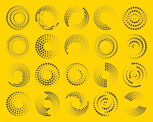 Halftoon radiale snelheid lijnen in cirkelvorm set