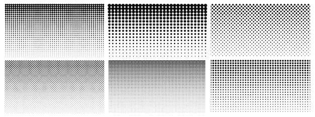 Halftoon verloop. gestippelde gradiënt, vloeiende stippen spuiten en halftonen punt