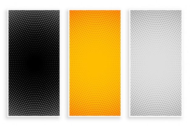Halftoonpatronen ingesteld in zwart-gele en witte kleuren