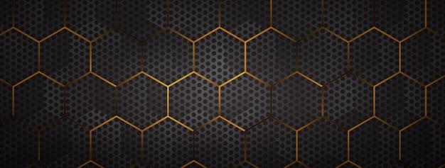 Halftoonpunt met gouden zeshoekige nettenachtergrond