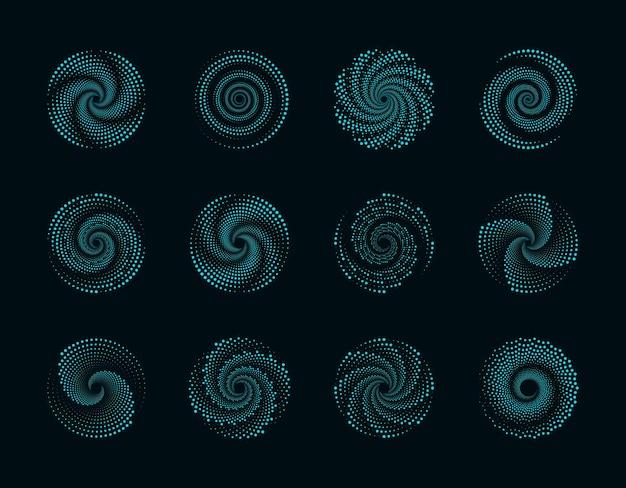 Halftoonstippen in cirkelvorm spiraalvormige stippen ontwerpen
