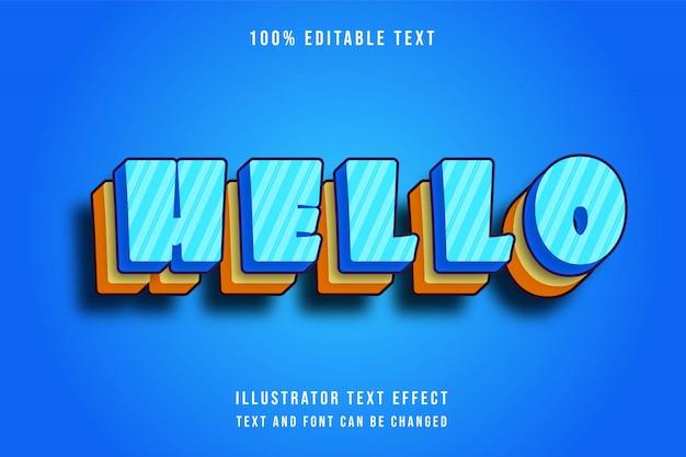 Hallo, 3d bewerkbare geel blauw patroon teksteffect moderne schaduw komische lagen stijl