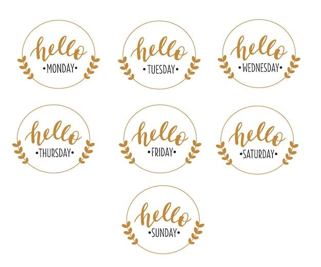 Hallo 7 weekdagen set handgetekende letters