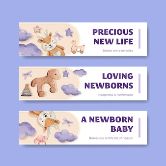 Hallo baby banner sjablonen set, aquarel stijl