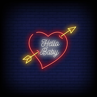 Hallo baby neon signs style text Premium Vector