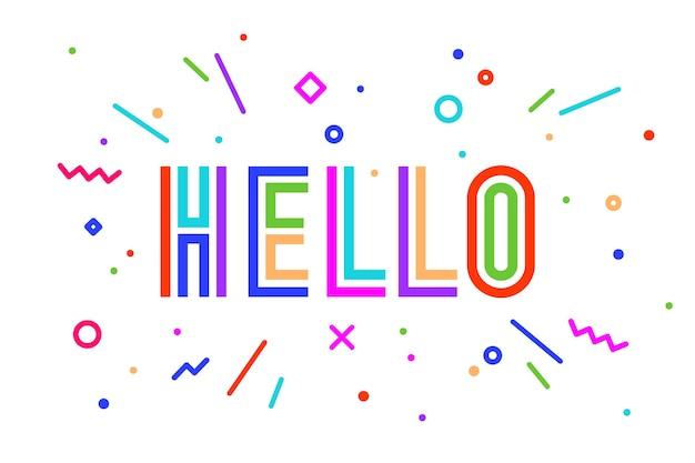 Hallo. banner, tekstballon, poster en sticker concept