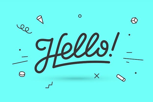 Hallo. belettering voor spandoek-, poster- en stickerconcept met tekst hallo.