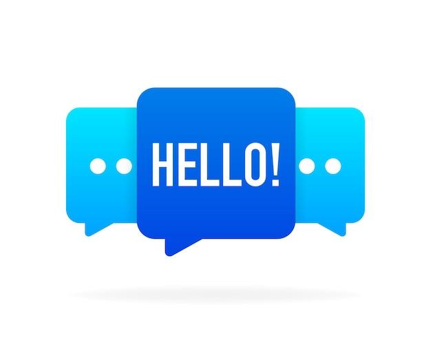 Hallo bericht zeepbel banner op witte achtergrond. vector illustratie.