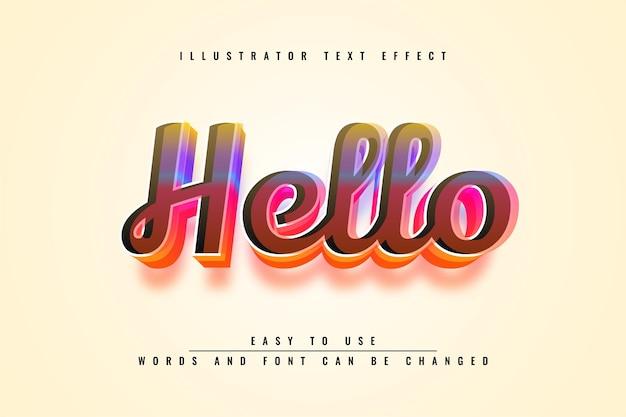 Hallo - bewerkbaar 3d-teksteffectontwerp