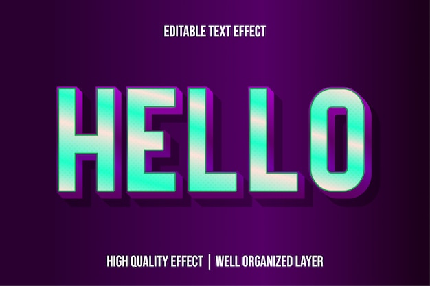 Hallo, bewerkbare moderne teksteffectlettertypen