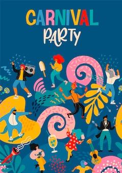 Hallo carnaval. vectoraffiche met grappige dansende mannen en vrouwen in heldere moderne kostuums.