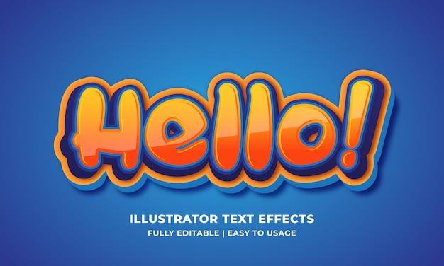 Hallo cartoon teksteffect