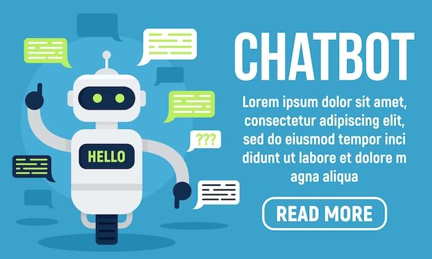 Hallo chatbot banner, vlakke stijl