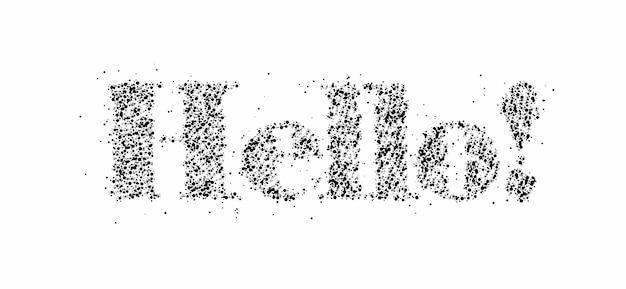 Hallo deeltje woord belettering tekst. vectorontwerp.