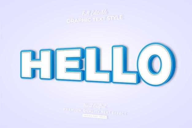 Hallo eenvoudige bewerkbare teksteffect-lettertypestijl