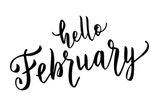 Hallo februari hand getrokken belettering.